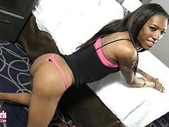 Hannah is a nice looking tgirl with a friendly smile, long slender body and budding hormone tits and blessed with a huge thick schlong.