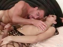 Tough guy and lovely tranny are passionately fucking.