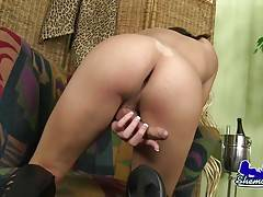 Sexy tgirl jacking her cock!