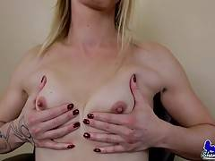 Lusina Devina is a sexy tall blonde with a hot body, small natural tits, a nice firm ass and a delicious cock! Watch this sexy transgirl playing with her ass and showing some nice foot action!