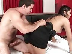 Horny dude enjoys the view of t-girlfriend`s round booty.