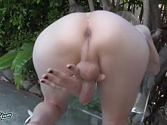 Scarlett is a beautiful fresh faced tgirl with a hot slim body, beautiful breasts, a hot ass and a sexy cock! Watch this horny tgirl getting naked by the pool and stroking her delicious cock!