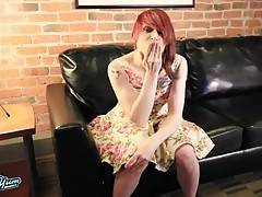 Anya The Blushing Rocker is a sexy newcomer with a hot well toned body, small hormone tits, a firm ass and a rock hard cock! Watch this sexy redhead showing off her hot body and stroking her hard cock!