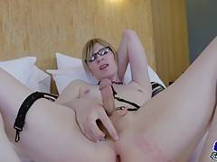 Watch this horny tgirl playing with her ass and stroking her cock for you...