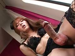 Attractive ladyboy Lisa grabs her erect dong and jerks.