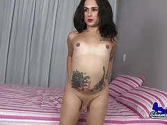 Sophia is a beautiful Latina transgirl with a hot body, sexy round ass and a small uncut cock! Watch this horny Grooby girl stroking her hard cock for you!
