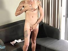 Wow - this gorgeous tgirl has a beautiful face, stunning slim body with beautiful tits, a great bubble butt and a rock hard cock! See this horny transgirl jacking off!